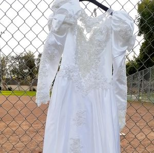 Vtg 70s white lace beaded wedding gown pearl 10 12